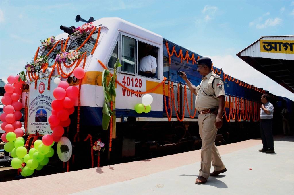 The new Tripura Sundari Express from Agartala to New Delhi, during its flag inauguration ceremony. Credit: PTI