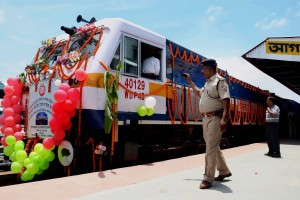 The new Tripura Sundari Express from Agartala to New Delhi, during its flag inauguration ceremony. Credit: PTI