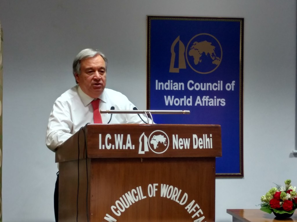 Antonio Guterres at an event organised by the Indian Council for World Affairs in New Delhi. Credit: The Wire