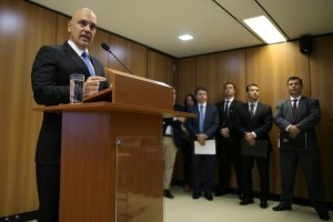 Brazil's justice minister Alexandre de Moraes attends a press conference on arrests made in at least two states before the start of the Rio 2016 Olympic Games, in Brasilia July 21, 2016. Credit: Reuters/Adriano Machado