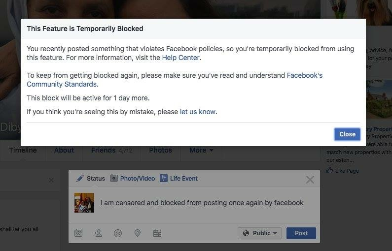 The blocking mechanism that Facebook put in for Kashmir content. Credit: Screenshot, The Wire