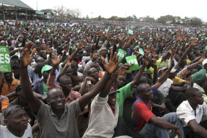 Kenyans rally for a new constitution in 2010. The constitution guaranteed shared power and resources for 47 county governments. Credit: Reuters