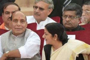 Prime Minister Narendra Modi with Rajnath Singh, Sushma Swaraj and Arun Jaitley. Credit: PTI