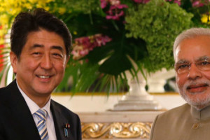 Japanese Prime Minister Shinzo Abe and Indian Prime Minister Narendra Modi. Credit: Reuters