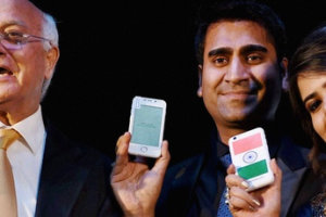 President of Ringing Bells Ashok Chadha with director Mohit Goel and CEO Dhaarna Goel during the launch of Smartphone-Ringing Bells Freedom 251 in New Delhi. Credit: PTI