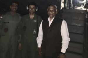 Minister of state for external affairs General V.K. Singh seen just before the commencement of Operation Sankat Mochan. Credit: Twitter
