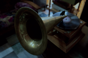 An old gramophone player with horn