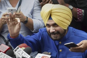 New Delhi: Navjot Singh Sidhu addresses a press conference in New Delhi on Monday. Credit: PTI