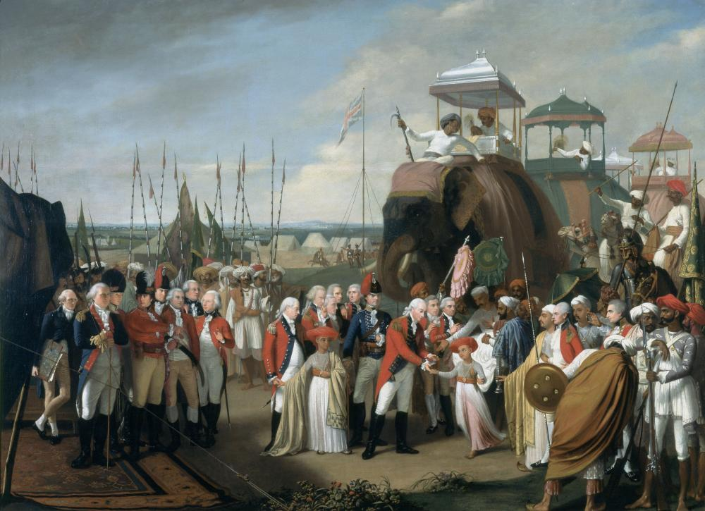 General Lord Cornwallis, receiving two of Tipu Sultan's sons as hostages in the year 1793. Credit: Wikimedia Commons