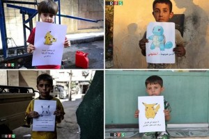 "A combination picture shows boys holding banners depicting Pokemon characters in these handouts pictures provided on July 22, 2016 by the Revolutionary Forces of Syria Media Office. The banners read: (Top-R) ""I am from Kafr Naboudah, save me"". (Top-L) ""I am trapped in Douma in Eastern Ghouta, Help me."" (Bottom-R) ""I am in Kafr Nabl in rural Idlib, come and save me!"" (Bottom-L) ""I am in Eastern Ghouta in Syria, come and get me!"". Credit: Reuters"