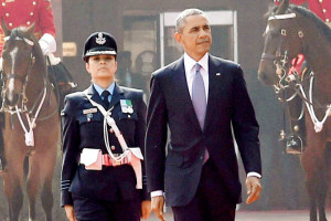 Wing Commander Pooja Thakur leading the ceremonial Guard of Honour for US President Barack Obama on the January 26, 2015, parade. Credit: PTI