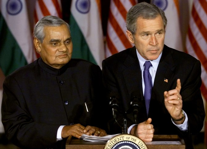 Former Prime Minister Atal Bihari Vajpayee with former US President George W. Bush