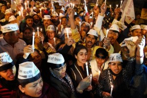 AAP activists at a rally in Delhi. Credit: PTI