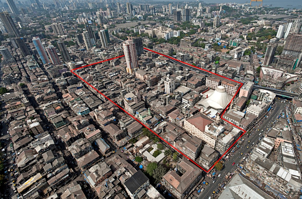 A top view of what the boundaries of Bhendi Bazaar look like today