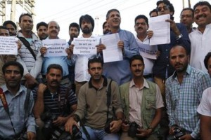 Kashmir's journalists protesting against the raid on newspapers on Saturday. Credit: PTI