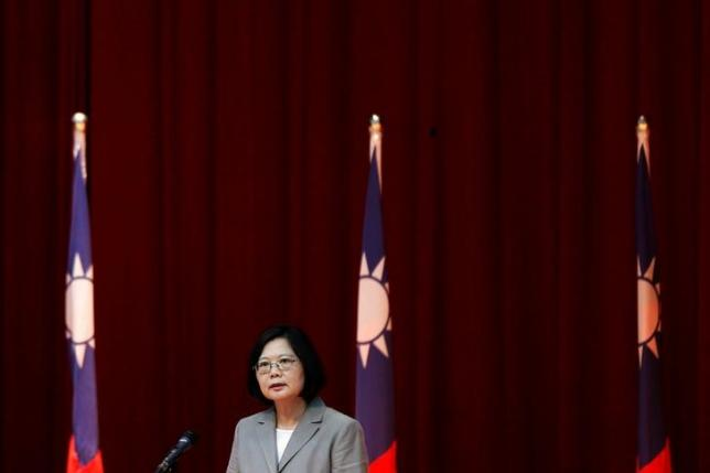 Taiwanese President Tsai Ing-wen speaks to navy sailors after visiting the nation's first domestically built stealth-missile 600-ton Tuo Jiang twin-hull corvette at Suao Naval Base in Yilan, Taiwan June 4. Credit: Reuters/Tyrone Siu/Files