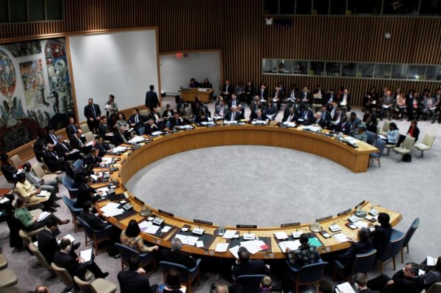 A general view shows a meeting of the United Nations Security Council at the UN headquarters in New York April 16. Credit: Reuters/Lucas Jackson