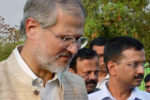 Najeeb Jung and Arvind Kejriwal. Credit: PTI
