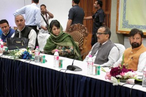 Jammu and Kashmir chief minister Mehbooba Mufti with deputy chief minister Nirmal Singh and leaders of various political parties at an all-party meeting in Srinagar on Thursday. Credit: PTI/S.Irfan