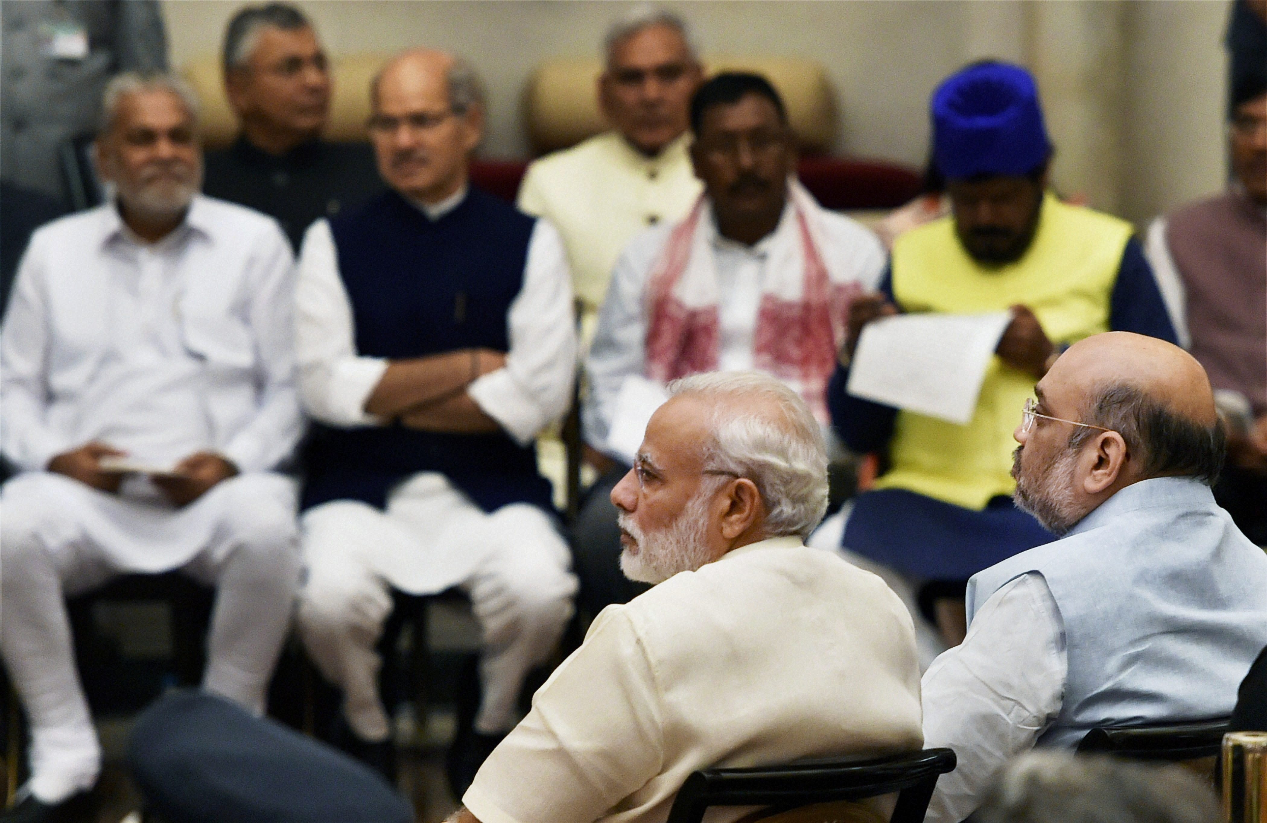 Prime Minister Narendra Modi with BJP president Amit Shah at the swearing-in ceremony at Rashtrapati Bhavan in New Delhi on Tuesday. Credit: PTI/ Shahbaz Khan