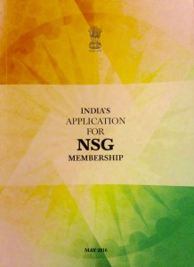 Cover of India's application to join the Nuclear Suppliers Group, May 2016
