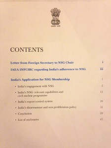 Table of contents of India's NSG application.