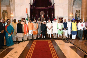 President Pranab Mukherjee, Vice President M. Hamid Ansari and Prime Minister Narendra Modi with the newly inducted Mmnisters after their swearing-in ceremony, at Rashtrapati Bhavan, in New Delhi on July 5, 2016. Credit: PMO