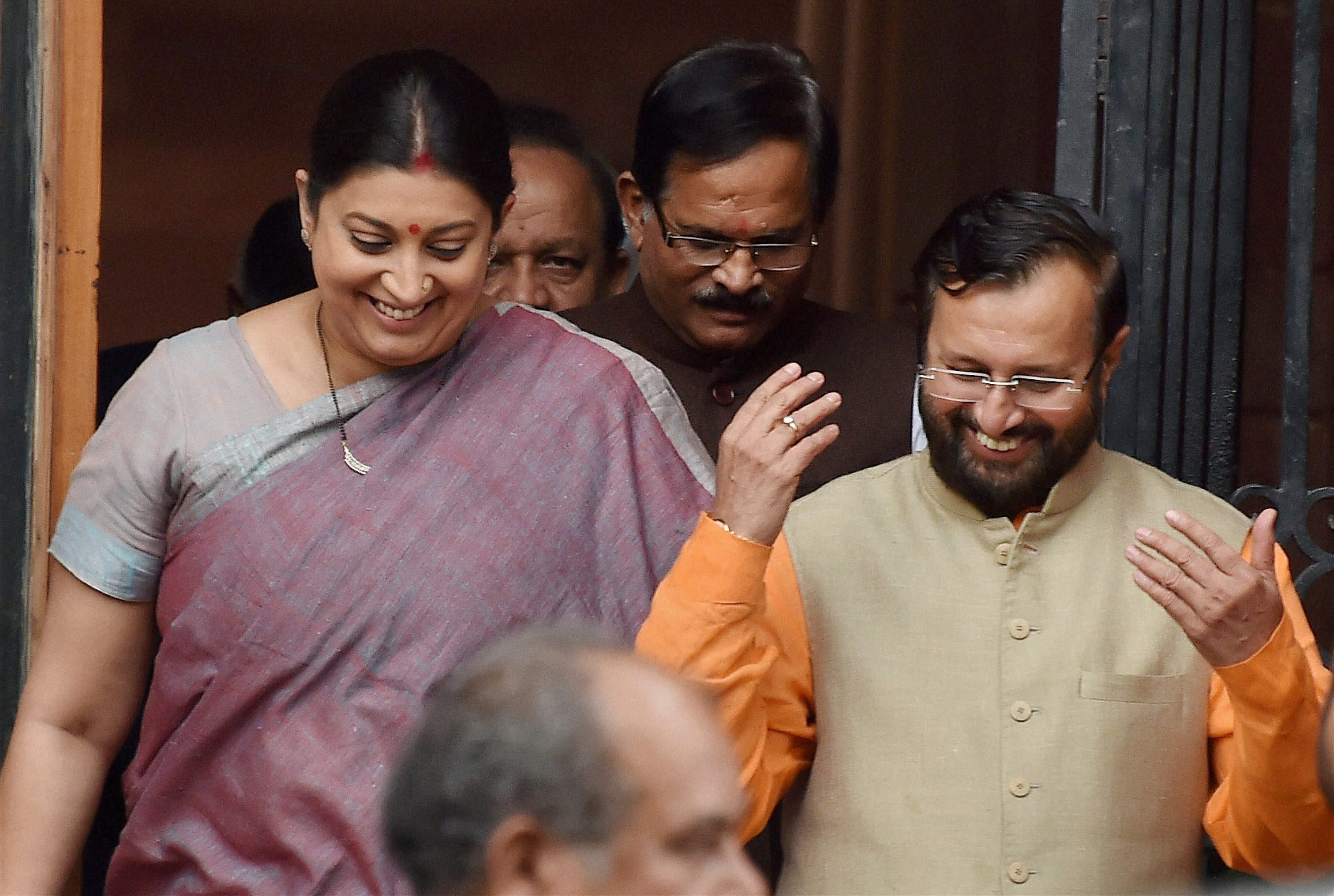 Smriti Irani with new Cabinet minister Prakash Javadekar after a Cabinet meeting at South Block in New Delhi on Tuesday hours before the new portfolios were announced. Credit: PTI /Vijay Kumar Joshi (PTI7_5_2016_000149B)