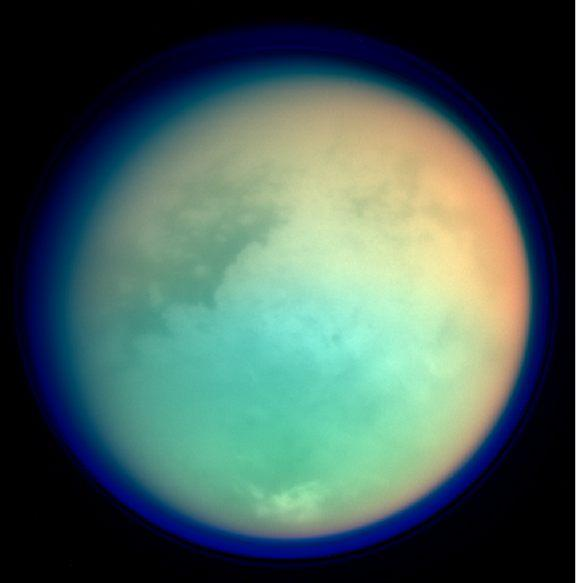 A multispectral overlay of Titan. Credit: Wikimedia Commons