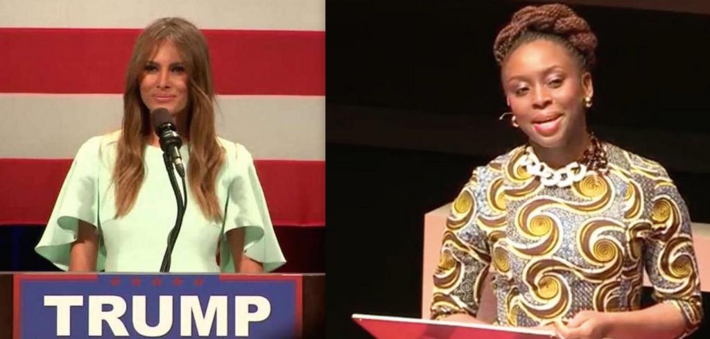 Melania Trump (L) and Chimamanda Ngozi Adichie (R). Credit: Reuters, Wikipedia