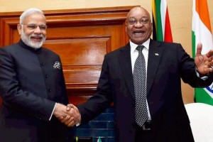 Prime Minister Narendra Modi with South African President Jacob Zuma during a meeting in Pretoria, South Africa on Friday. Credit: PTI