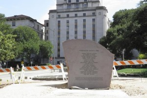 A stone memorial to the 16 people and one fetus who died in the August 1, 1966 mass shooting is seen ahead of it being officially delegated at a ceremony on August 1, 2016 to mark the 50th anniversary of the killing at the University of Texas in Austin, Texas, U.S. on July 27,2016. Reuters/Jon Herskovitz/Files