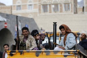Houthi militants sit on the back of a police patrol truck in Yemen's capital Sanaa August 24, 2015. Khaled Abdullah, Reuters/Files