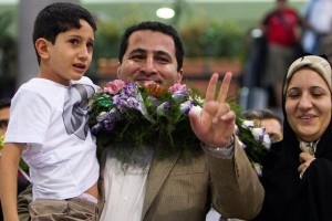 Amiri was given a hero's welcome when he arrived at Imam Khomeini airport in Tehran in 2010, and was portrayed as somone who had fled US captivity. Credit: Raheb Homavandi/Reuters
