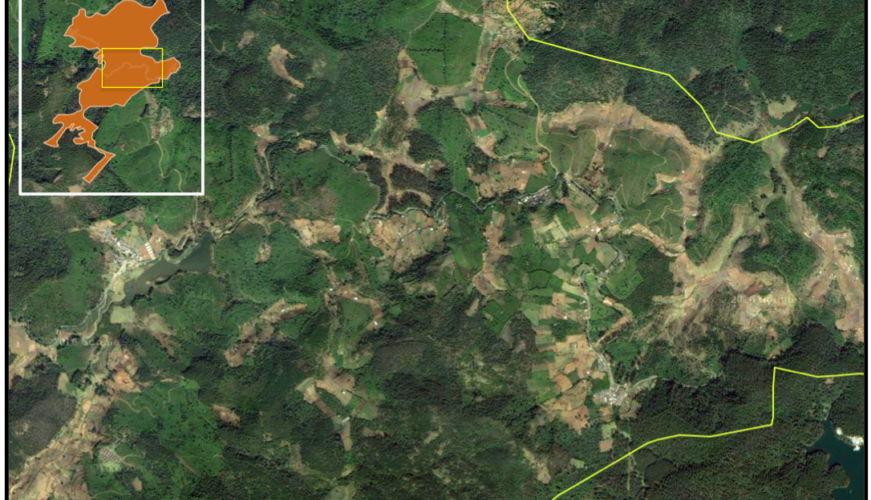 Satellite imagesof the Ghats wart frog's range show much of its habitat has already been converted to farmland. Credit: Google Earth.