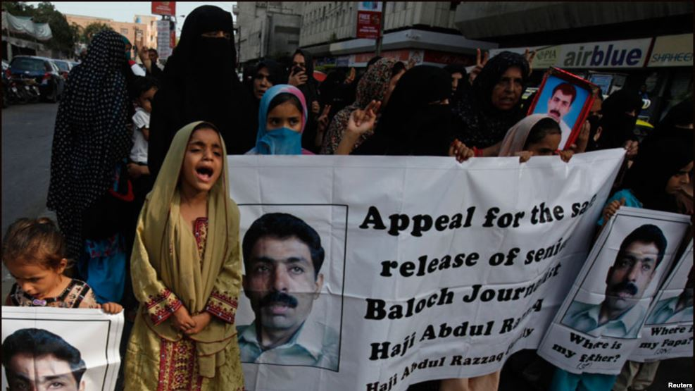 The family of Abdul Baloch, a Baloch activist abducted from Karachi last month, stage a protest. Credit: Reuters