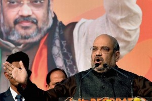 Amit Shah at a BJP rally. Credit: PTI