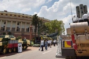The DRDO heavy defence equipment exhibition at parliament. Credit: PTI