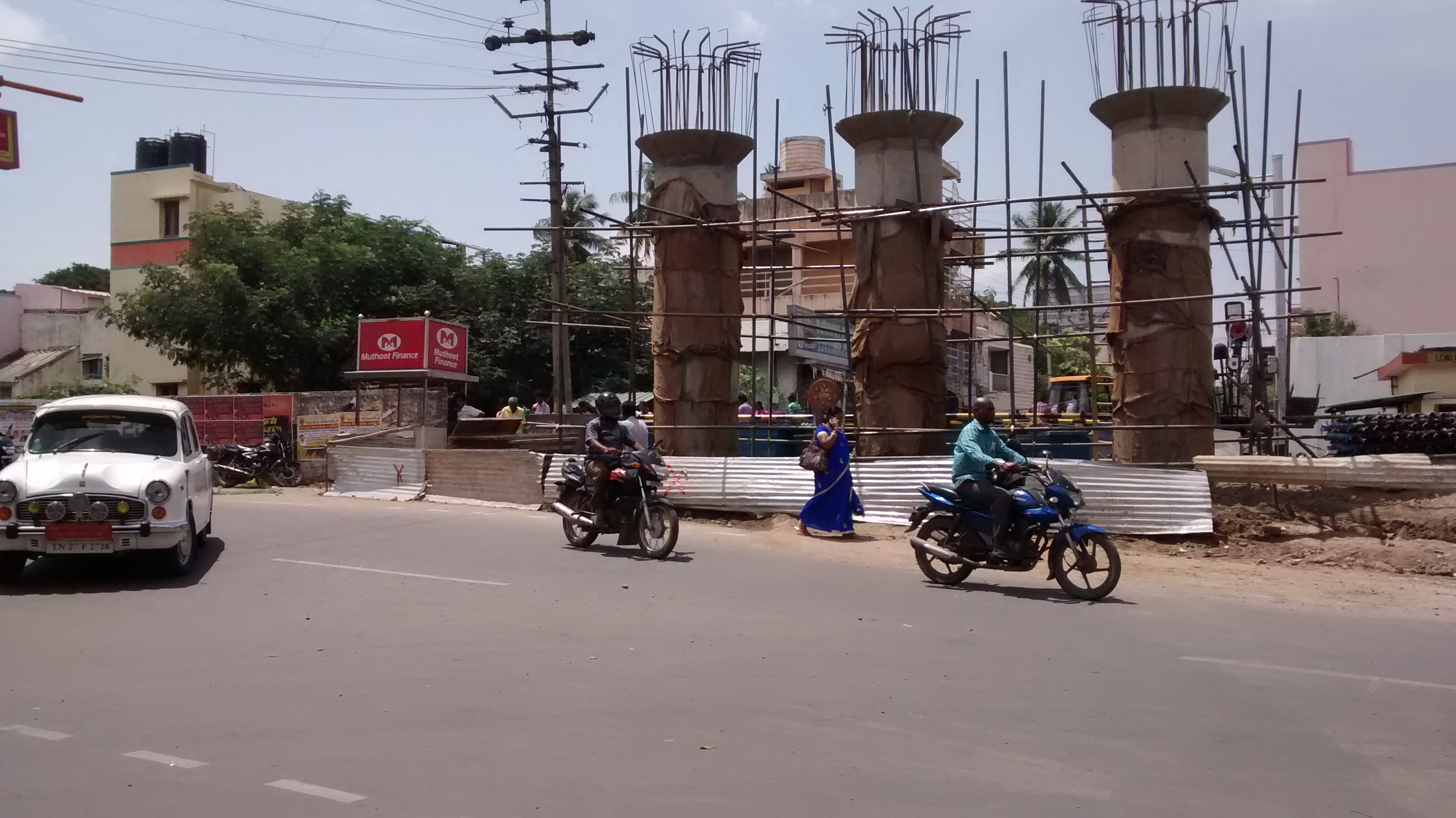 The site of protest. The pillars are on land belonging to the railways. Source: Author provided