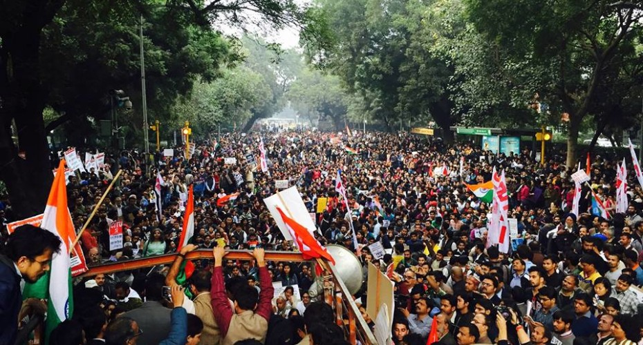 Protesters rally against sedition charges in the JNU controversy. Credit: StandWithJNU/Facebook