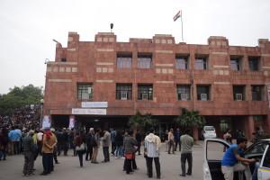 On the JNU campus. Credit: Akhil Kumar