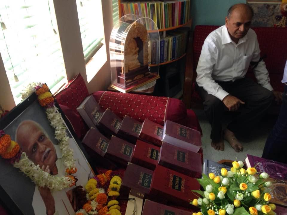 A photograph of Kalburgi along with a collection of his work. Credit: Siddharth Varadarajan