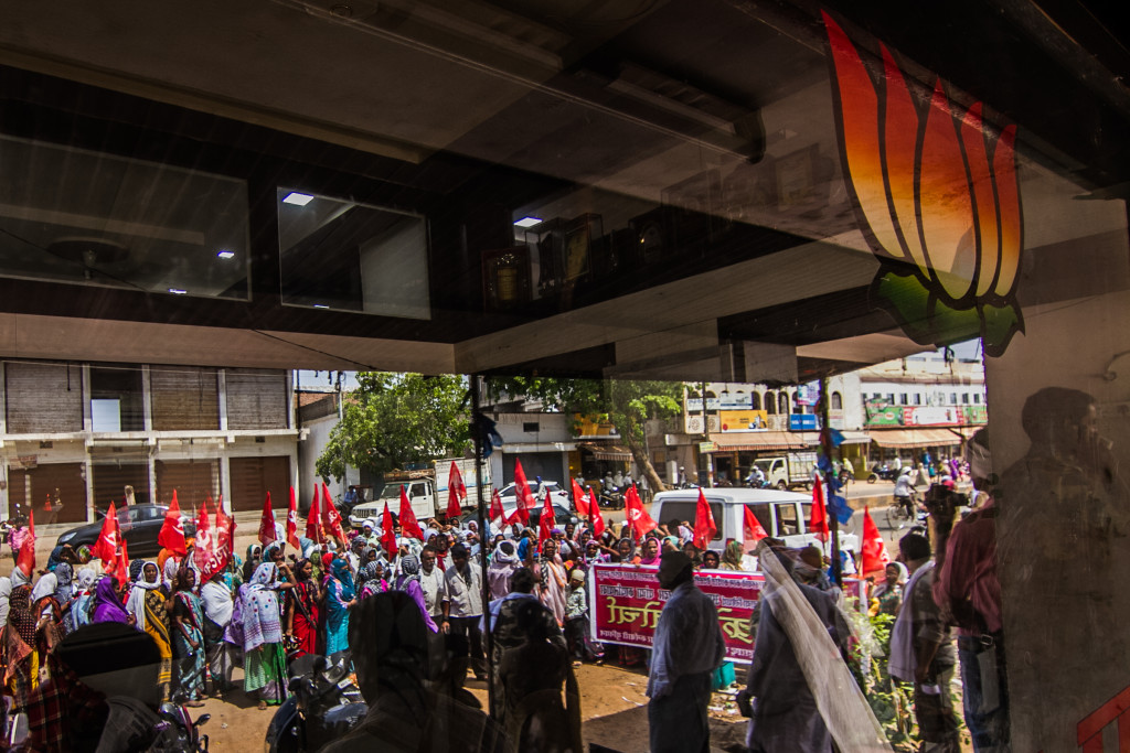 The protest in May by the CPI's mid-day meal workers in front of the local BJP office was the first protest in months allowed by the local administration, after the CPI petitioned chief minister Devendra Fadnavis. Credit: Javed Iqbal