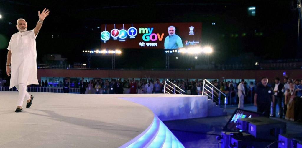 Prime Minister Narendra Modi at the 2nd Year Anniversary celebrations of MyGov, in New Delhi on Saturday. Credit: PTI