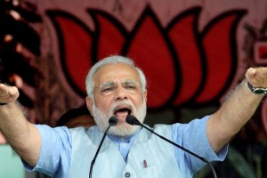 Purnea: BJP Prime Ministerial candidate Narendra Modi addresses the Hunkar rally in Purnea on Monday. PTI Photo (PTI3_10_2014_000125A)