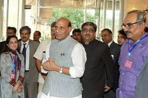 Union Home Minister Rajnath Singh arrives in Islamabad to attend the SAARC summit for interior ministers. Credit: PTI