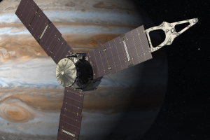 An artist's illustration of Juno with Jupiter in the background. Credit: NASA