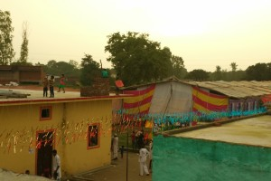 Apna Ghar Colony decorated for the official inauguration. Credit: Jahnavi Sen