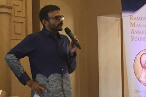 T.M. Krishna speaking at the Magsaysay Award ceremony in Manila. Credit: Twitter
