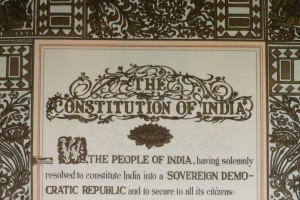 The opening lines of the preamble of the Indian constitution. Credit: Wikimedia